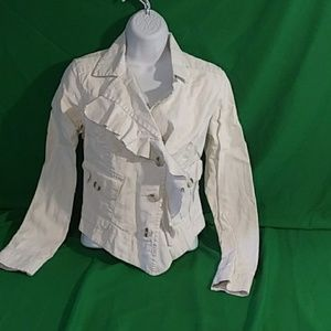 Cabi small waxed linen cream colored jacket
